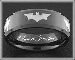 Batman Black Tungsten Wedding Ring for Father's Day.