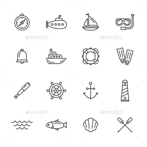 Nautical, marine and sea thin line icons Includes the following:compass, submarine, sailing vessel, diving mask, bell, cruise ship