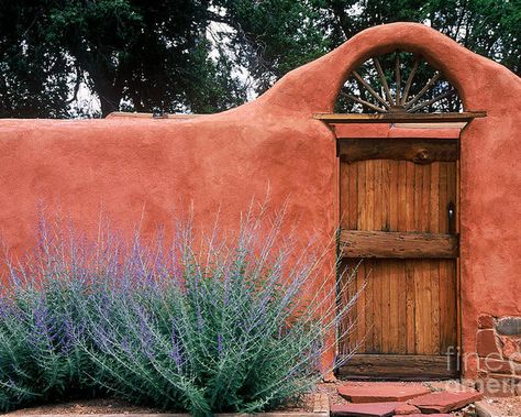 Santa Fe Gate No. 2 - Rustic Adobe Antique Door Home Country Photograph - Santa Fe Gate No. 2 - Rustic Adobe Antique Door Home Country Fine Art Print New Mexico Style, New Mexico Homes, Mexico House, Southwestern Home, Southwest Style, Santa Fe Home, Pintura Exterior, Santa Fe Style, Adobe House