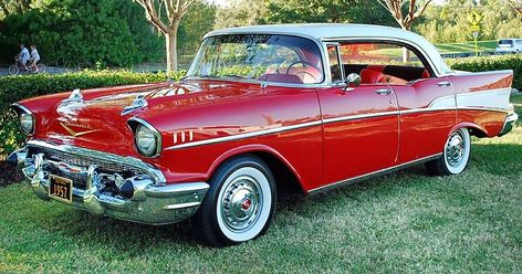 1957 Chevrolet Bel Air Sport Coupe India Ivory Over Matador Red