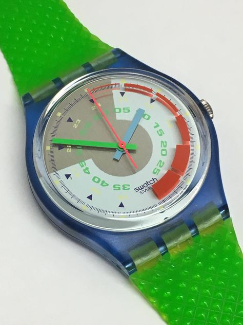 Vintage Swatch Watch Schnell 1992 Near Mint Condition Blue Green Skeleton Retro Gift by ThatIsSoFunny on Etsy