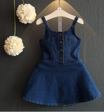 2021 New Brands Summer Toddler Clothing Kids Clothes Baby Vest Dress Children Costume Fashion Denim Girls Dresses 0-7Year BC1116 - Blue / 18M