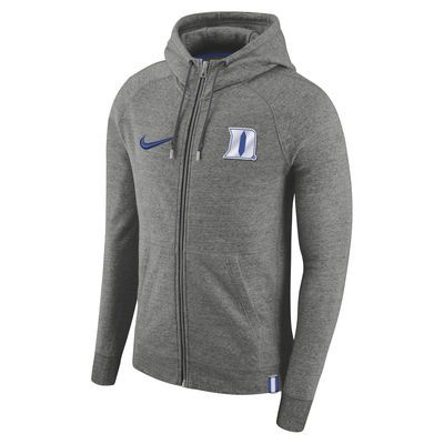 7339f53c Men's Nike Heathered Gray Duke Blue Devils AW77 Full-Zip Hoodie ...