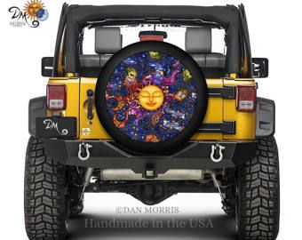 Celestial Sun Tire Cover Digitally Printed On Marine Grade Vinyl