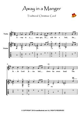 Away In A Manger Violin Guitar Duet Music Score Download Duet Music Music Score Solo Music