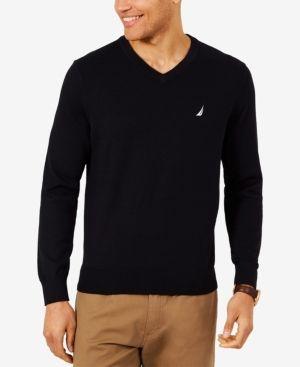 ef883bc33d3 Nautica Men Lightweight Jersey V-Neck Sweater | Products | Black ...