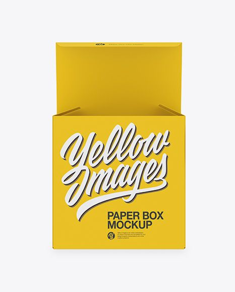 Opened Paper Box Mockup Front View In Box Mockups On Yellow Images Object Mockups Mockup Free Psd Design Mockup Free Box Mockup