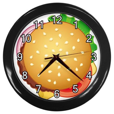 Hamburger Black Frame Battery Operated Novelty Kitchen Wall Clock