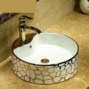 Round Europe Vintage Style Hand Painting Art Wash Basin Bathroom