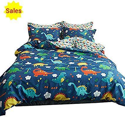 Amazon Com Oroa Cute Cartoon Dinosaur Twin Bedding Set For Kids Students 100 Cotton 3 Pieces Reversible Dinosaurs Cotton Bedding Sets Duvet Cover Pattern Bed