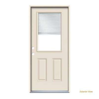 36 In X 80 In Primed Right Hand Inswing 1 2 Lite Clear Steel Prehung Front Door W Brickmould Exterior Front Doors Front Door Security Screen Door