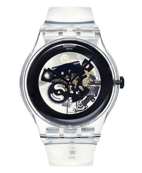 Swatch Watch, Unisex Swiss Black Ghost Clear Plastic Strap Love this watch!