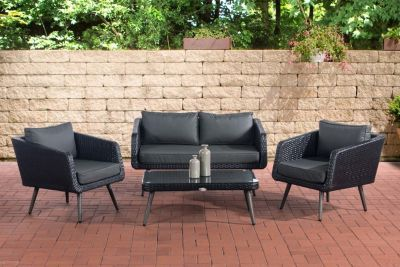 Clp Polyrattan Loungeset Trosa I Schwarz I Gartenlounge Flachrattan I Sofa 2x Sessel Glastisch I 1 25mm Rattand Loungemobel Garten Lounge Mobel Gartenmobel