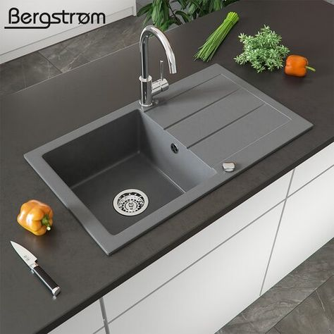 Conness Single Bowl Inset Kitchen Sink Sol 72 Outdoor Colour Grey In 2020 Grey Kitchen Sink Diy Bathroom Remodel Sink