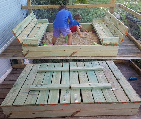 Diy Sandbox With Fold Out Bench Seats Moneyrhythm Diy Sandbox