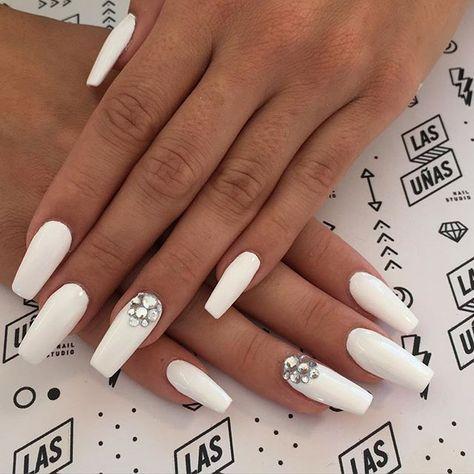 Super Nails Dark Skin Manicures Ideas White Coffin Nails Nails Design With Rhinestones Diamond Nails