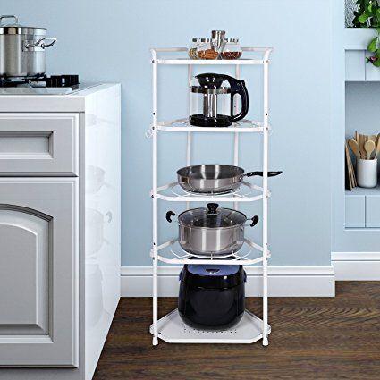 Lifewit Pan Pot Organizer Rack Cookware Stand With 6 Hooks 5 Tiers Kitchen Storage Rack Corner Kitchen Storage Rack Cookware Stand Kitchen Hacks Organization