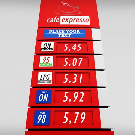 Gas station price sign totem low poly pack Construction Business