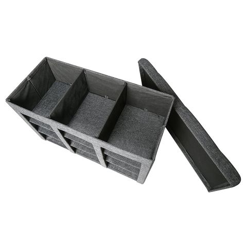 Amazon.com: Seville Classics Foldable Storage Bench Ottoman, Charcoal Gray:  Home U0026 Kitchen