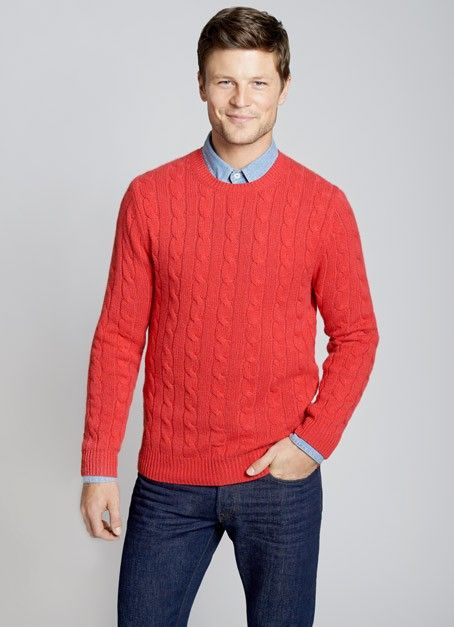 The Monticello - Red Cashmere - Cable-knit Sweater | It's Sweater ...