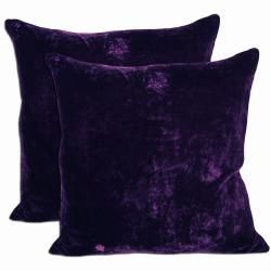 Purple Velvet Feather And Down Filled Throw Pillows Set Of