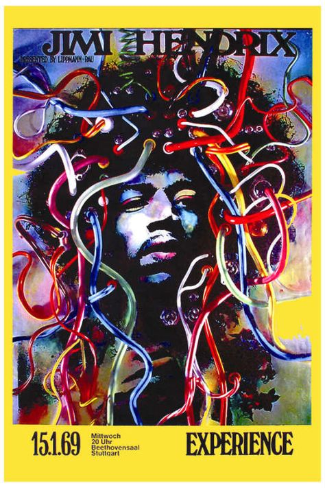 Jimi Hendrix Stuttgart Germany Promo Poster 1969