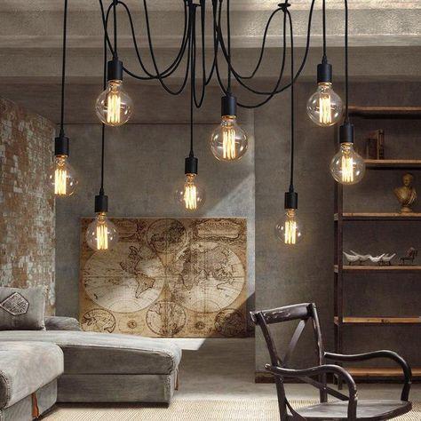 Modern Nordic Art Spider chandelier - Home Decoration Light Bulb Chandelier, Chandelier For Sale, Modern Chandelier, Pendant Lights, Bulb Lights, Simple Chandelier, Industrial Chandelier, Pendant Lamps, Solar Lights