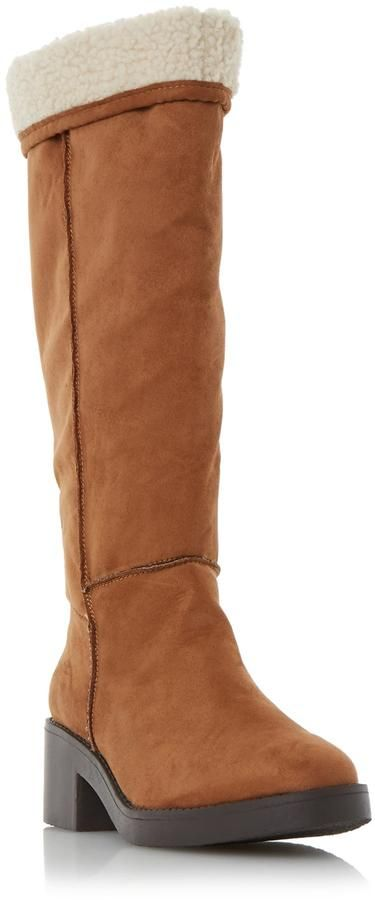 Head Over Heels by Dune TANDRA - TAN Shearling Lined Knee High Boot