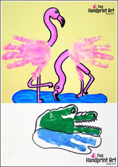 Handprint Animals: Flamingos and Crocodiles