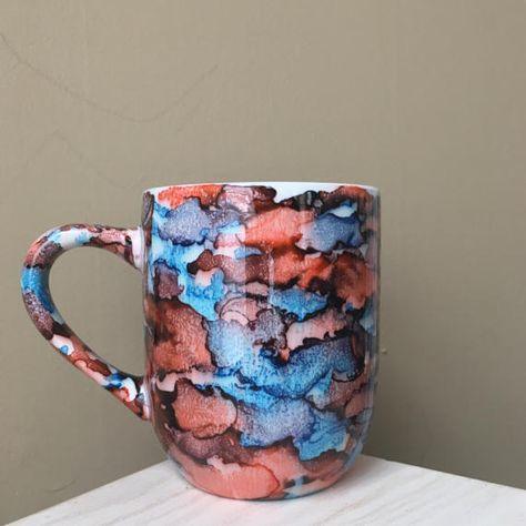 Hand Painted Mug Alcohol Ink Summer Sky Light Blue By Emederart