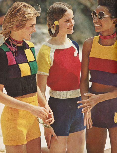 """Retro Fashion justseventeen: """"July 'Hop into hotpants and tops slahed with color…' """" -"""