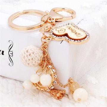 Soft Diamante Heart Tassel Pendant Rhinestone Crystal Keyring Key Chain Gift