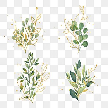 Hand Painted Green Golden Branch Leaves Plant Leaf Clipart Hand Painted Golden Png Transparent Clipart Image And Psd File For Free Download Floral Painting Flower Painting Hand Painted Flowers