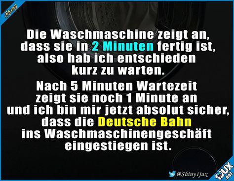 Ich bin da einer ganz heißen Sache auf der Spur #DeutscheBahn #warten #Waschmaschine #Witz #Witze #Sprüche