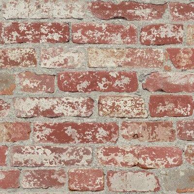 Roommates Stuccoed Brick Peel And Stick Wallpaper Dark Red Target In 2020 Peel And Stick Wallpaper Red Brick Wallpaper Brick Wallpaper