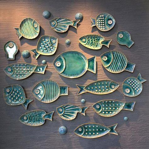 Ceramic Fish Starfish Shaped Decorative Hanging Decor Plate Set Decoration On Wall - Töpfern ideen - Plates Ceramics Projects, Clay Projects, Clay Crafts, Ceramic Pottery, Ceramic Art, Ceramic Decor, Cerámica Ideas, Clay Fish, Starfish