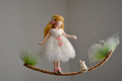 Room decor Wool mobile  Needle felted ornament : Girl with white mouse