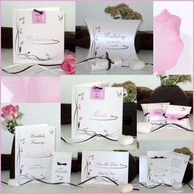 Hochzeitskarten In Rosa Und Braun Mit Kleinen Herzen Bandern Und