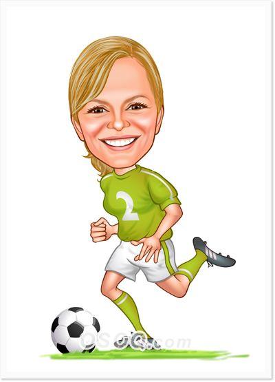 Women S Soccer Caricatures Caricature Custom Cartoons Cartoon