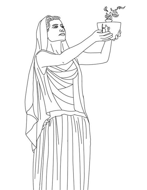 Hestia From Greek Gods And Goddesses Coloring Page Greek Gods