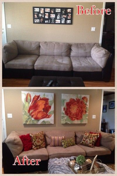alisha s living room sofa wall before and after her as seen on tv rh pinterest com au