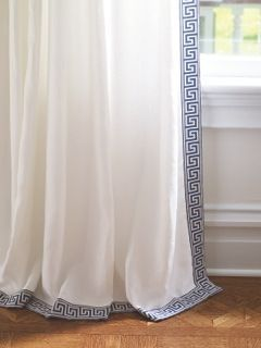 Instaglam Blue Greek Key Tape Trim On Cool White Linen Blue And White Curtains White Curtains Bedroom Blue And White Living Room