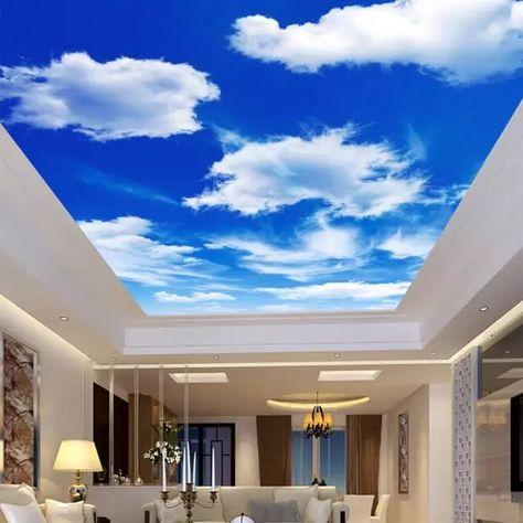 Custom Mural Wallpaper 3D Blue Sky White Clouds Nature Landscape Modern Ceiling Fresco Living Room Restaurant Non-Woven 3D Mural