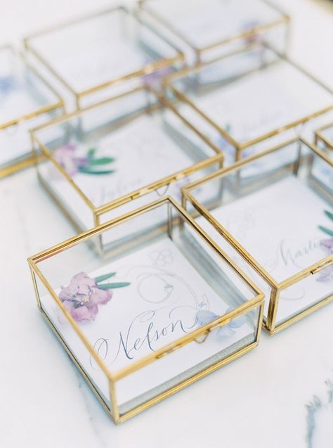 Customised place cards as wedding favours - Style Me Pretty