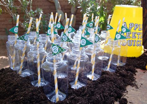 John Deere straw flags in glass jars - printables from Chickabug.com : )