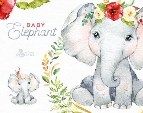 Baby Elephant. Watercolor little animal clipart, babies, flowers, safari, Africa, wreath, kids, cute