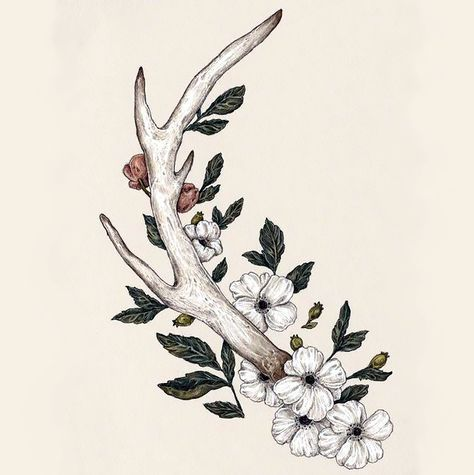 A realistic elegant tattoo of an antler with white and pink blossoms. Color: Colorful. Tags: First, Cute, Awesome, Great, Elegant