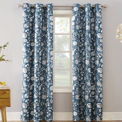 Curson Botanical Floral Room Darkening Thermal Grommet Single Panel Curtains Drapes Curtain Color Blue Size Per Panel 40 W X 95 L In 2020 Insulated Curtains Grommet Curtains Floral Room