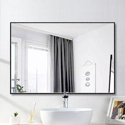 Andover Mills Matthews Bathroom Vanity Mirror Finish Black Size 38 X 26 In 2021 Contemporary Bathroom Mirrors Bathroom Vanity Mirror Framed Mirror Wall