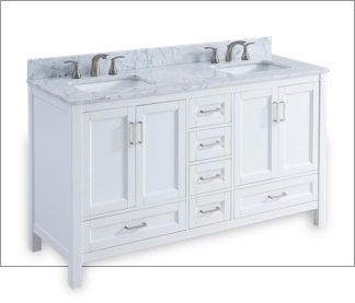 60 Inch White Vanity With A Marble Top Dual Sinks 2 Sets Of Double Door Cabinets And 6 Drawers Bathroom Vanity Tops Unfinished Bathroom Vanities Small Bathroom Vanities
